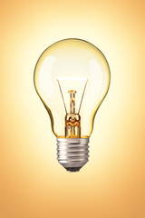 Light bulb on orange background , Realistic photo image