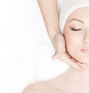 Portrait of a woman on a spa massage procedure