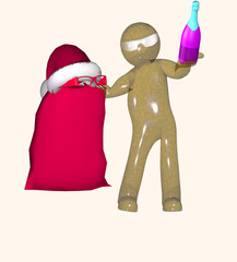 New year's eve 3d man on a white background makes discounts