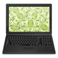 laptop and dollar background