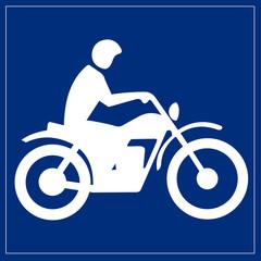 Papier Peint - Schild blau - Motorradfahrer
