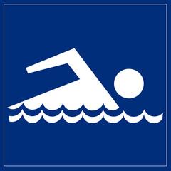 Papier Peint - Schild blau - Schwimmbad