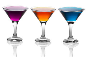 alcoholic martini cocktails isolated on white