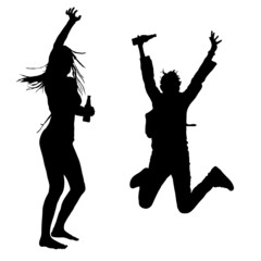 girls dancing and jumping vector silhouette