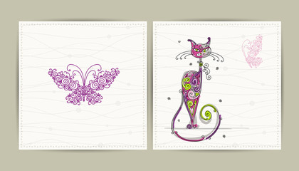 Birthday postcard with cute cat and butterfly for your design