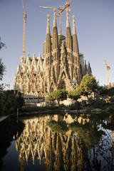 Sagrada familia vertical view with beautiful reflections