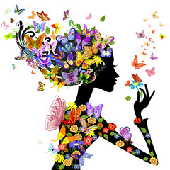 Aluminium Prints Floral woman girl fashion flowers with butterflies