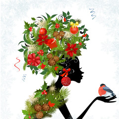 Foto op Plexiglas Bloemen vrouw Fashionable girl with Christmas hairstyle for your design