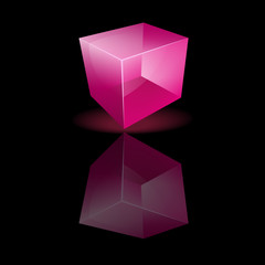 Pink glass cube on a smooth surface
