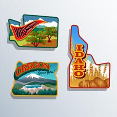 United States Outines Washington Oregon, Idaho retro artwork