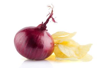Potato chips and onion