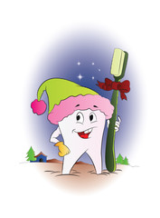 Tooth with a Toothbrush for Christmas, illustration