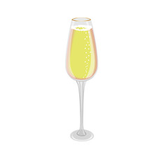 Glass of champagne on white background, vector illustrated