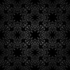Abstract black swirls, seamless pattern