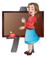 Lady Teacher Using a Chalk Board, illustration