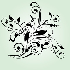 Floral background with decorative branch