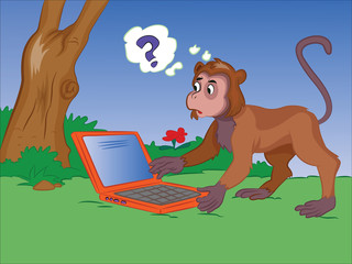 Monkey Using a Notebook, illustration