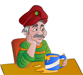 Man with a Cup of Drink, illustration