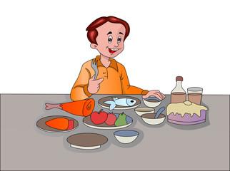 Man Feasting, illustration