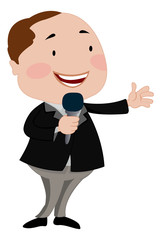 Man Talking on a Microphone, illustration