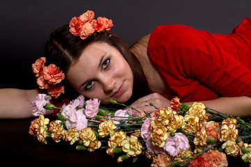 portrait of a girl with a bouquet of flowers