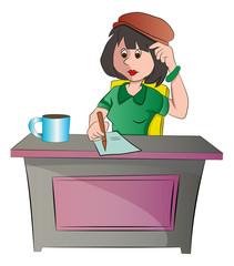 Secretary or woman Sitting at a Desk, illustration