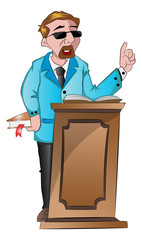 Man Speaking Behind a Podium, illustration