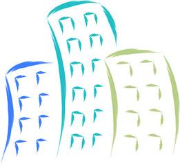 office buildings sketch vector illustration