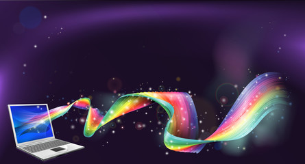 Laptop rainbow background