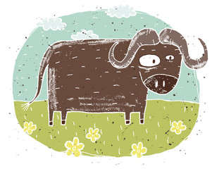 Hand drawn grunge illustration of cute buffalo