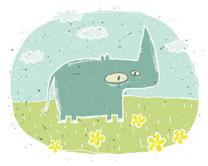 Hand drawn grunge illustration of cute rhino on