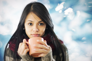 Beautiful girl in warm clothing