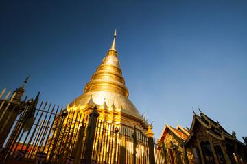 pagoda in wat hariphunchai  lamphun Thailand