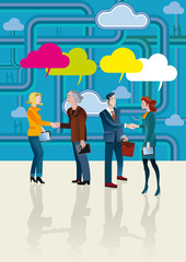Business People Shaking Hands and Cloud