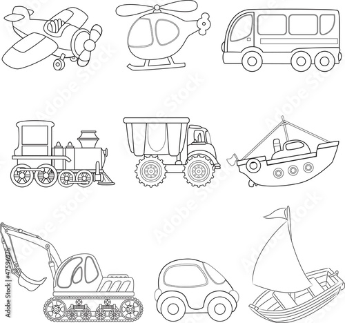 "Transportation coloring pages trains ~ ""Cartoon transport. Coloring book."" Stock image and ..."