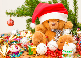 Christmas expectations concept - teddy bear with Christmas decor