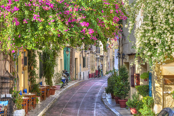 Traditional houses in Plaka area under Acropolis ,Athens,Greece