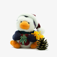 Penguin with Santa hat,present and pine cone.