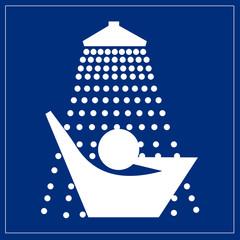 Papier Peint - Schild blau - Dusche