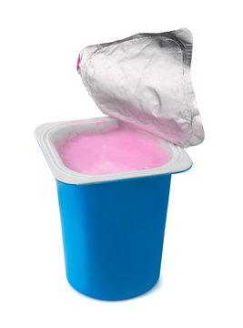 Fruit yogurt in blue plastic box