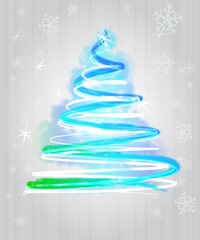 light blue christmas tree flare concept in glittering snowfall