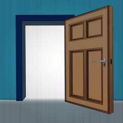 interior wooden open door at blue wall vector