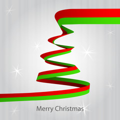 christmas tree red green ribbon shape on grey vector