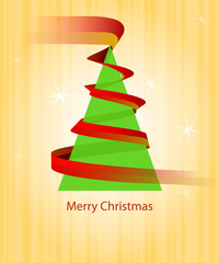christmas green tree triangle with red ribbon on orange vector