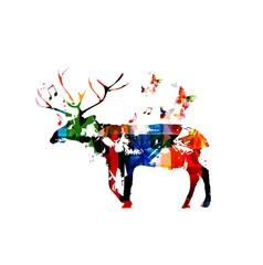 Deer silhouette vector background
