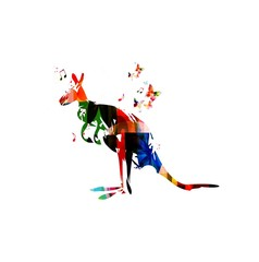 colorful vector kangaroo with butterflies