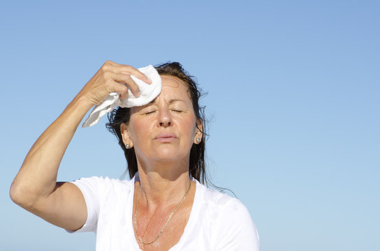 Mature woman exercise stress sweating