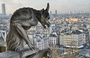 Fototapete - Paris. Closeup of gargoyle on the top of Notre-Dame Cathedral -
