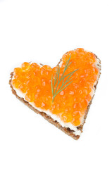 sandwich with red caviar in the form of a heart  isolated