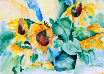 Aquarell: Herbstblumen